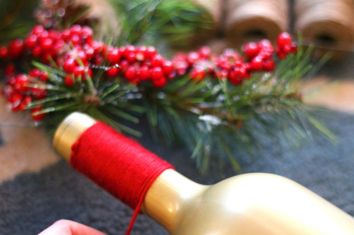 DIY holiday wine bottles
