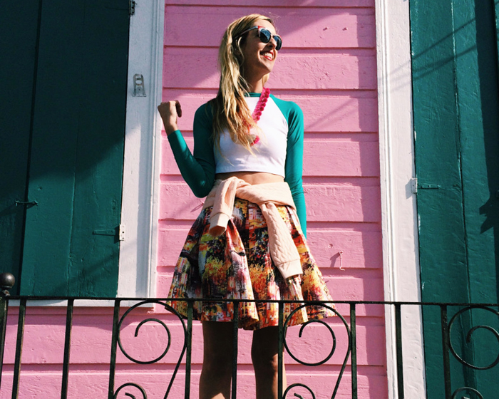 Southern Blog Society - Crop Top and Printed Skirt