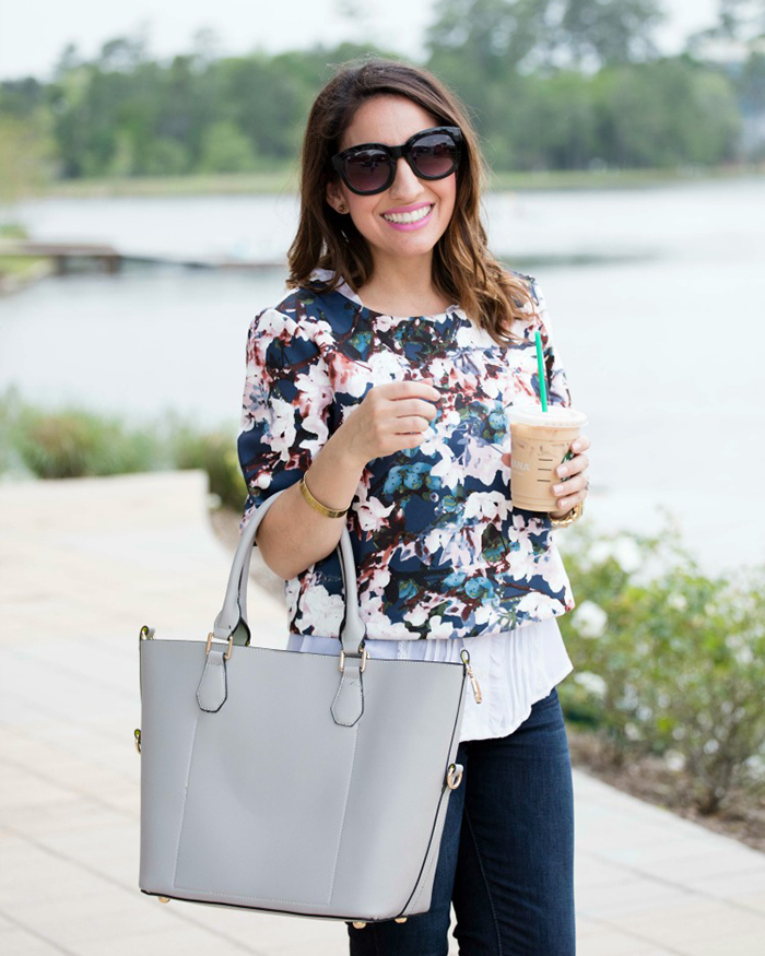 Floral-spring-layered-top-with-cutest-grey-bag