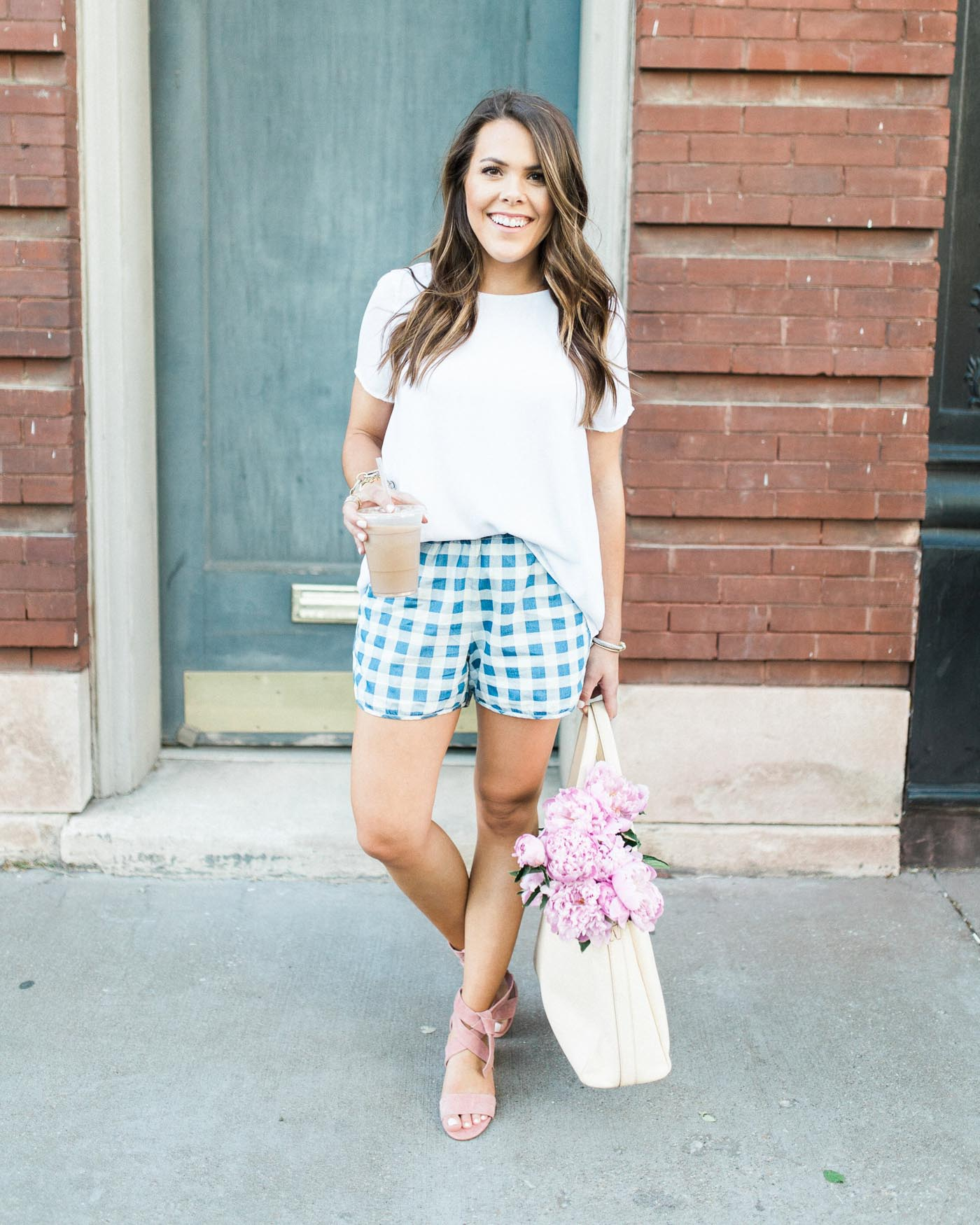Glitter & Gingham, gingham shorts, pink peonies - The Blog Societies