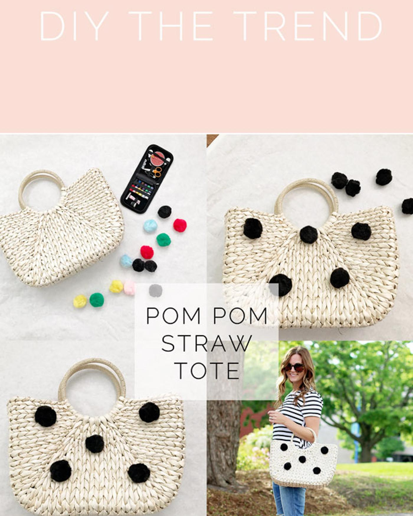 diy pom pom straw tote - The Blog Societies