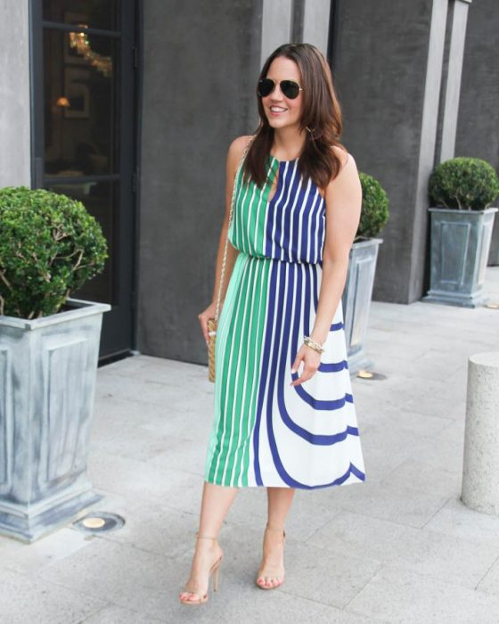 Green and Blue Stripe Midi Dress
