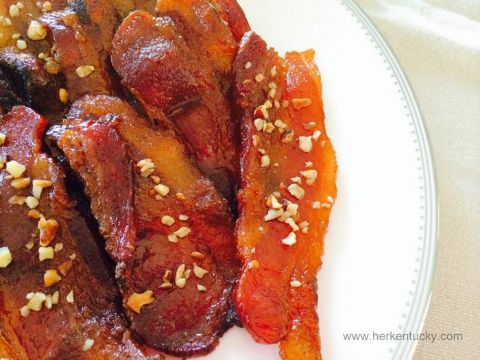 bourbon glazed bacon, candied bacon recipes, bacon recipe