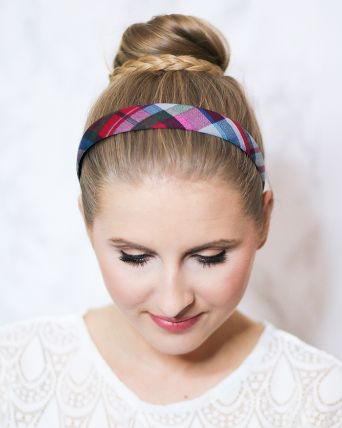 topknot-bun-with-braid-plaid-headband