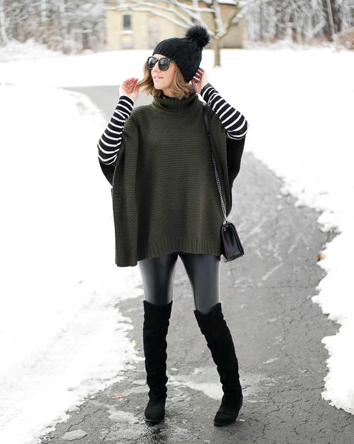 Chunky Turtleneck Poncho - The Blog Societies