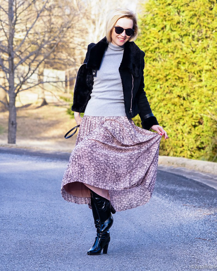 Pale-pink-midi-skirt-Banana-Republic-grey-turtleneck-sweater-LOFT-patent-leather-boots-faux-fur-jacket-White-House-Black-Market-outfit-by-petite-style-blogger-AnnRobieFashion-8