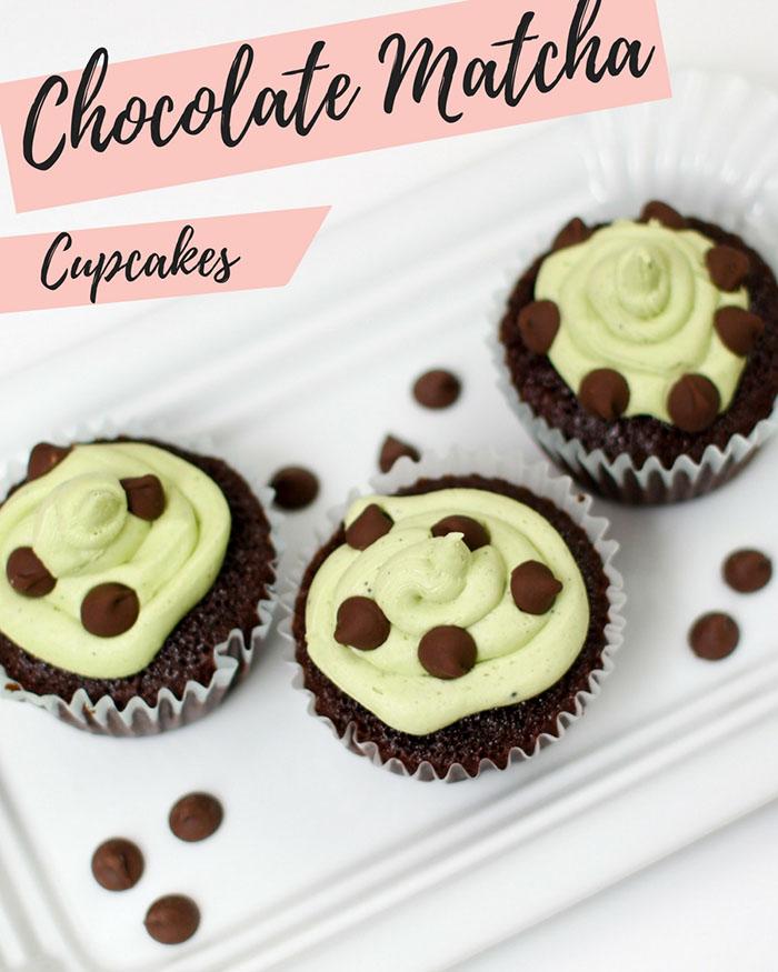Chocolate Matcha Cupcakes - The Blog Societies