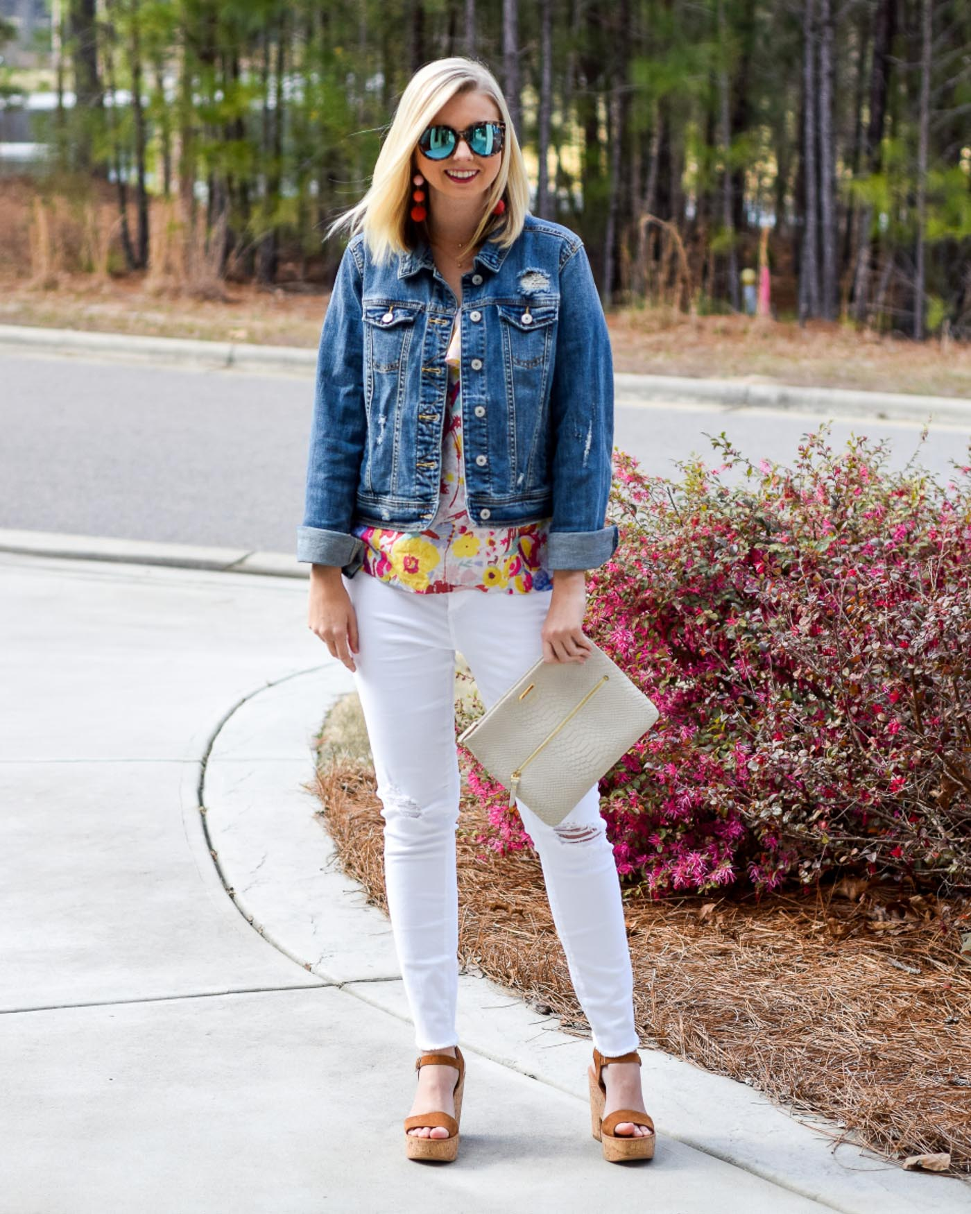spring florals and white jeans