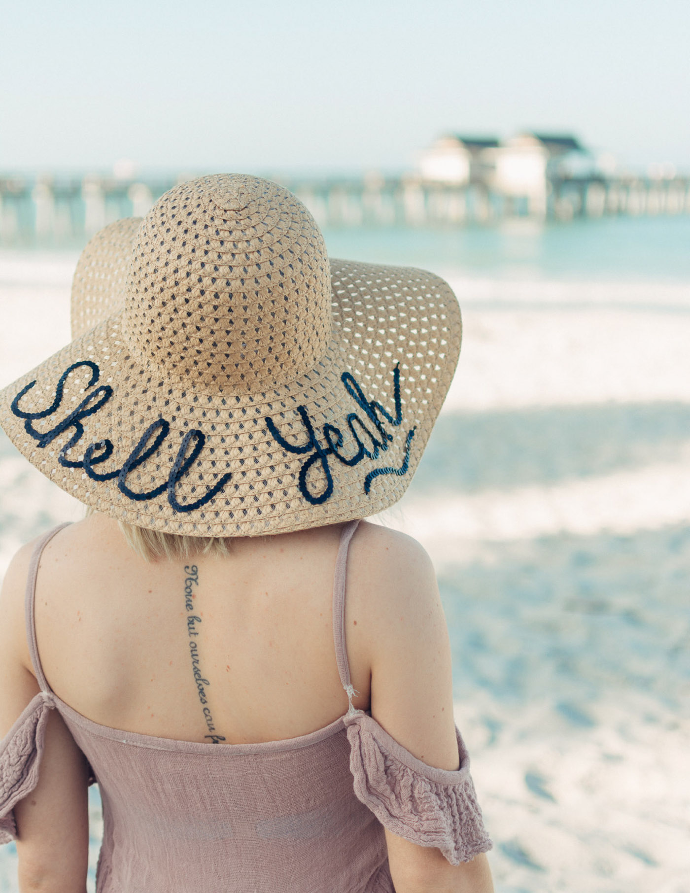 DIY sequin script sun hat tutorial