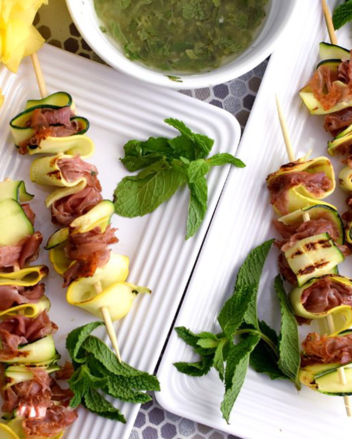 Grilled Zucchini and Prosciutto Skewers with Citrus Mint Dressing - The Blog Societies