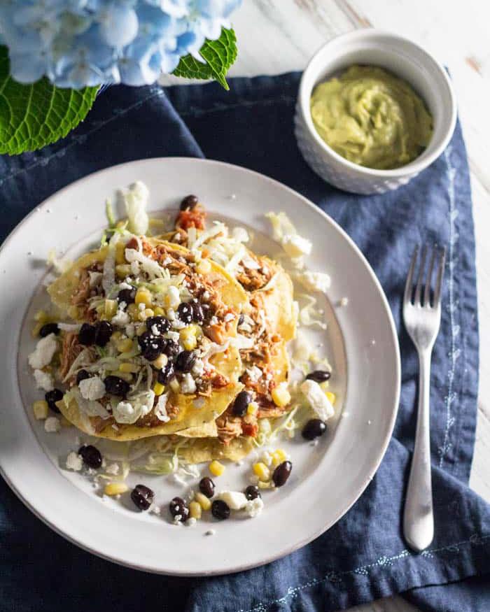 Slow Cooker Salsa Chicken Tostadas - The Blog Societies