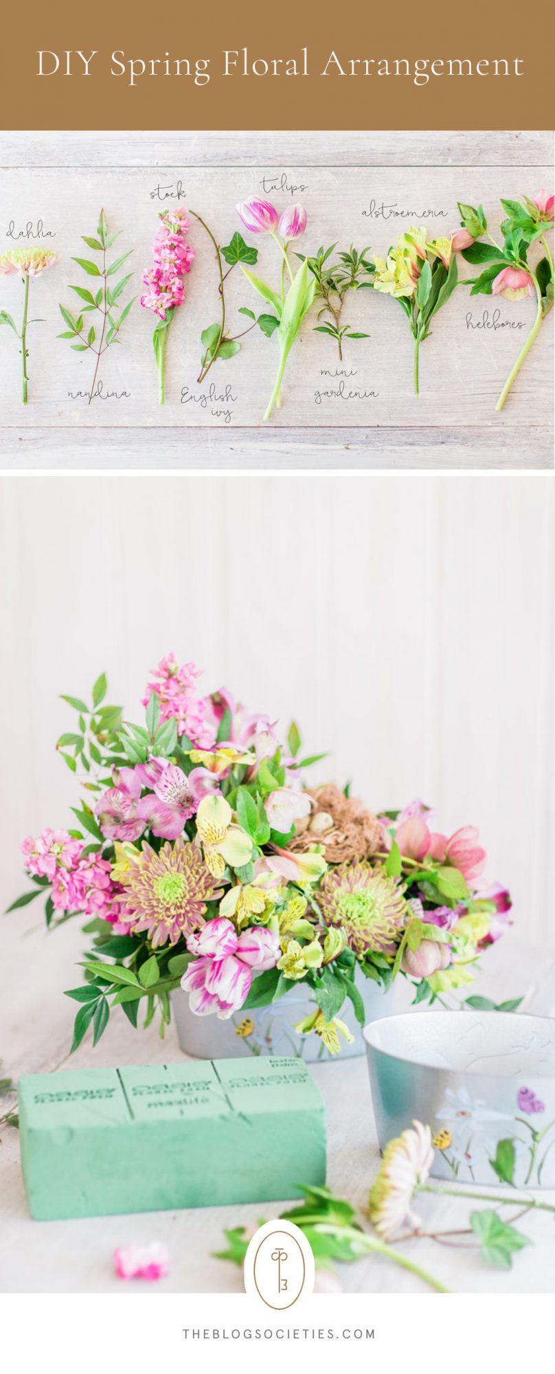 spring floral arrangement, how to make a flower arrangement